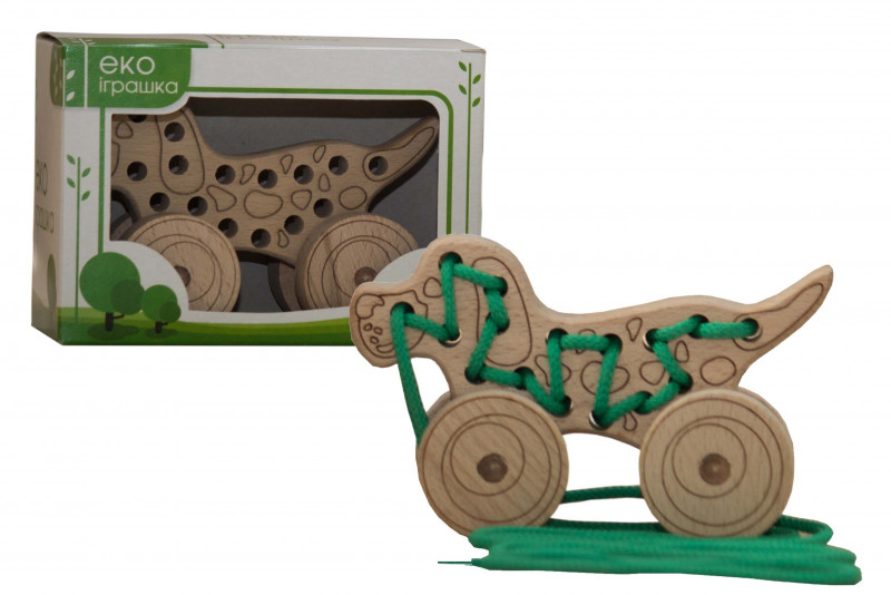 Lacing wooden toy «DOG» on wheels #1