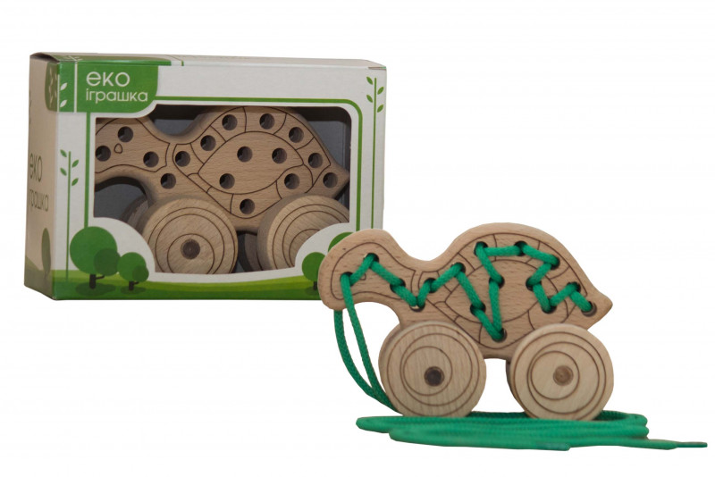 Lacing wooden toy «TURTLE» on wheels #1
