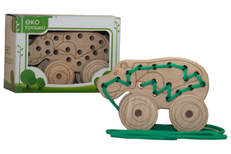 Lacing wooden toy «HIPPO» on wheels #1