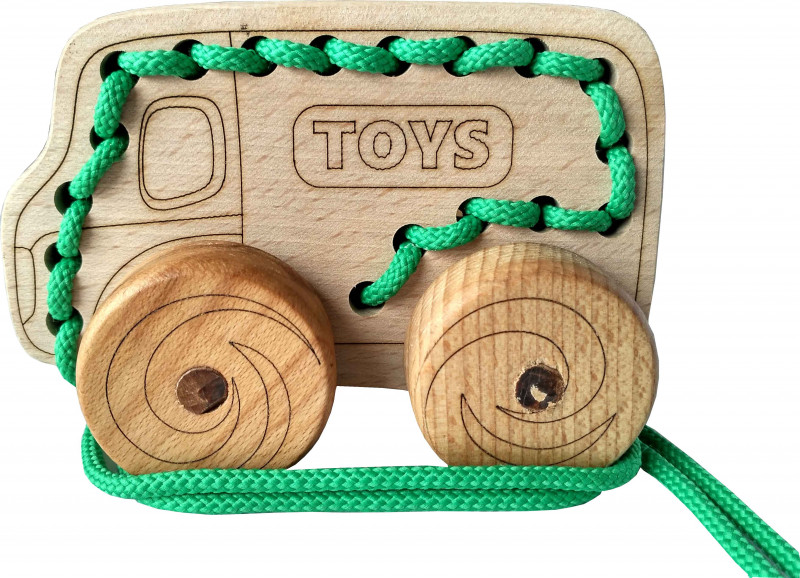 Lacing wooden toy «TRUCK» on wheels #1