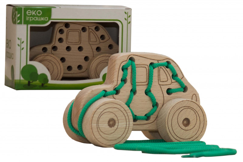 Lacing wooden toy «CAR» on wheels #1